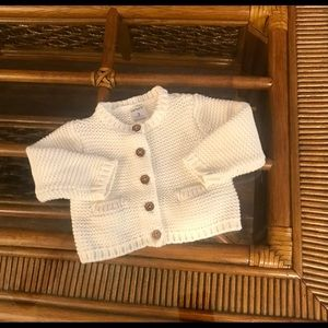 Carter's White Button Up Sweater 3 months